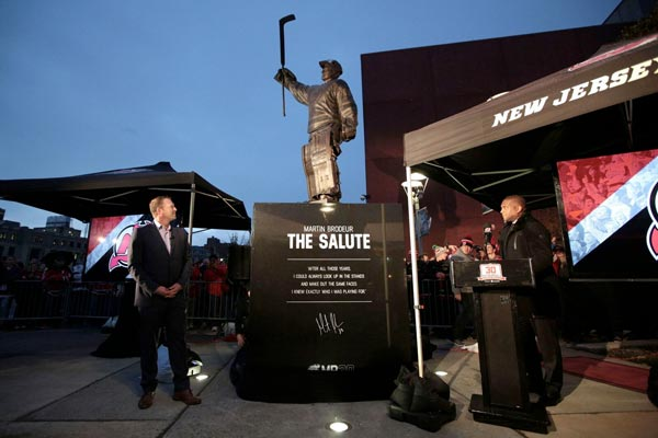 New Jersey Devils Dedicate Martin Brodeur Statue Outside Of Arena