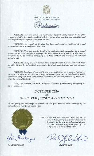 Governor Christie Proclaims October 2016 Discover Jersey Arts Month