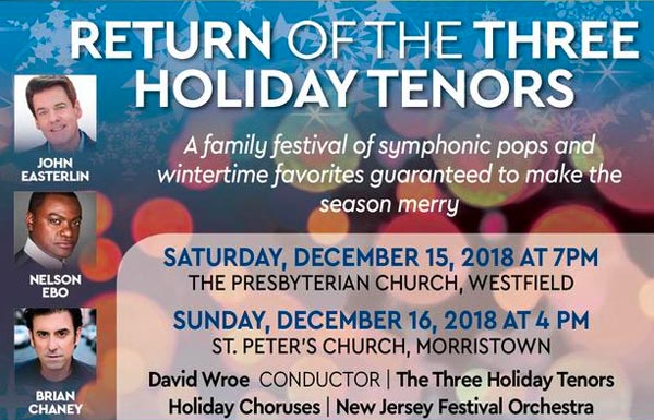 Kick off the Holiday Season with NJ Festival Orchestra and The Three Holiday Tenors