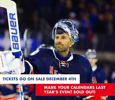Henrik Lundqvist of the New York Rangers To Return to iPlay America on January 18