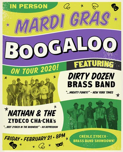 Dirty Dozen Brass Band, Nathan and the Zydeco Cha Cha's To Bring Mardi Gras Boogaloo 2020 To Newton