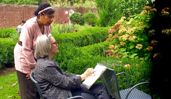 Drawing the Garden at Morven Museum & Garden In Princeton