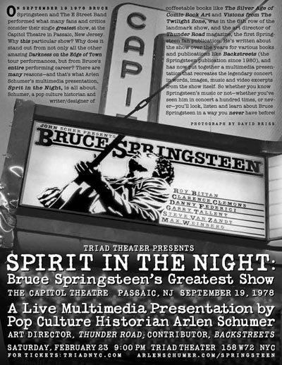 "Triad Theater Presents ""Spirit In The Night"" - a look at Bruce Springsteen's Greatest Show"