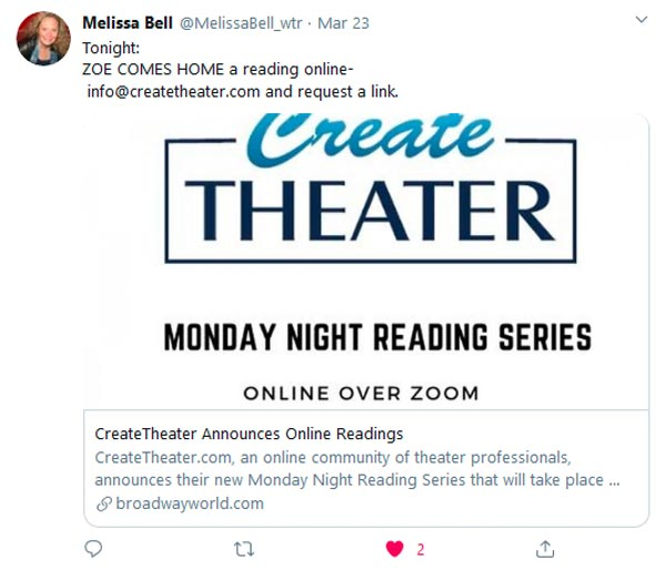 Create Theater Gives Online Readings