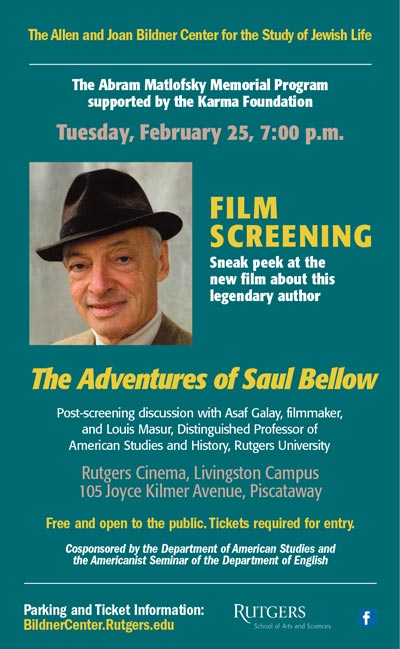"""""""The Adventures of Saul Bellow"""" To Be Screened At Rutgers Cinema"""