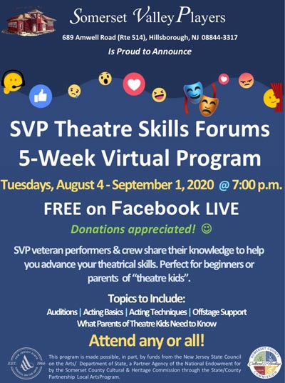 Somerset Valley Players Offering Virtual Theatre Skills Training
