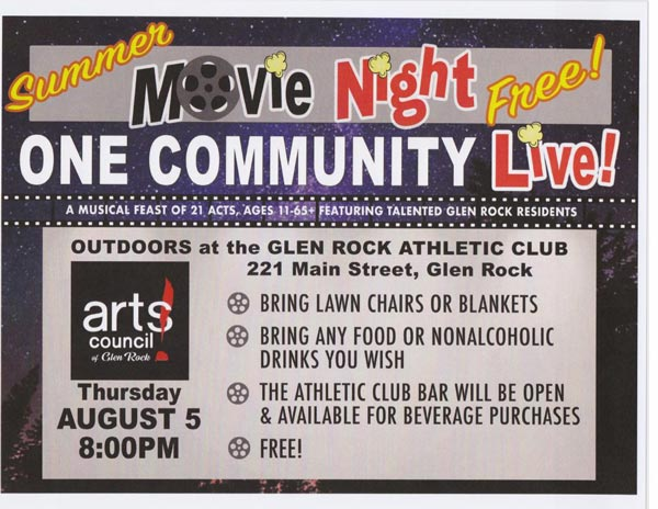 """The Arts Council of Glen Rock Presents """"One Community: LIVE!"""" Under the Stars for Outdoor Movie Night on August 5"""