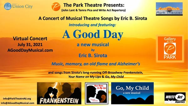 """""""A Good Day – A Concert of Musical Theatre Songs by Eric B. Sirota"""" To Take Place July 31st"""