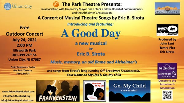 """""""A Good Day -- songs from musicals by Eric Sirota"""" To Take Place July 24 In Union City"""