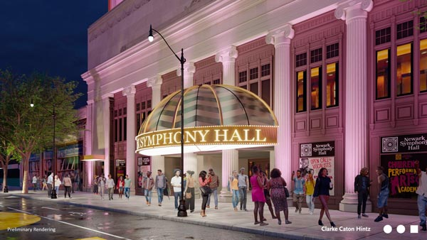 Historic Newark Symphony Hall unveils new facade, streetscape design